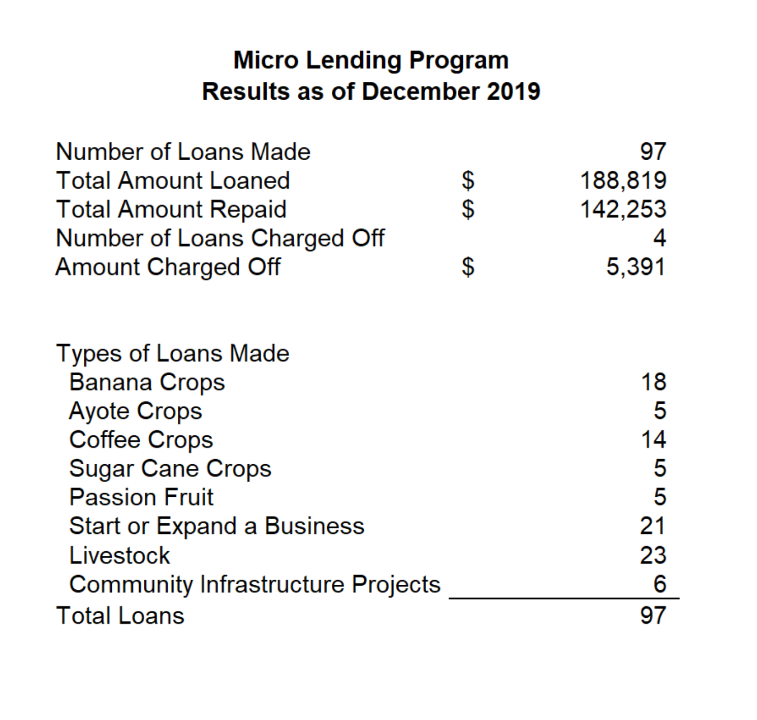 Micro Loans Annual Report